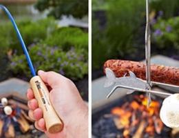 奇葩的烧烤鱼竿,像钓鱼一样烧烤食材
